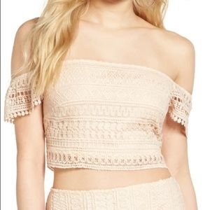 Leith Lace Off the Shoulder Crop Top